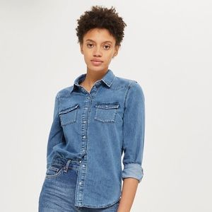 Topshop   Fitted Denim Button Down   S